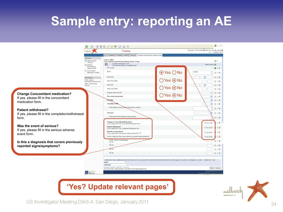 US Investigator Meeting DIAS-4, San Diego, January Sample entry: reporting an AE