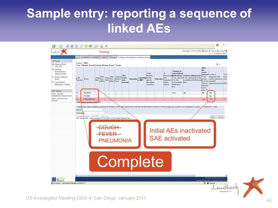 US Investigator Meeting DIAS-4, San Diego, January Sample entry: reporting a sequence of linked AEs