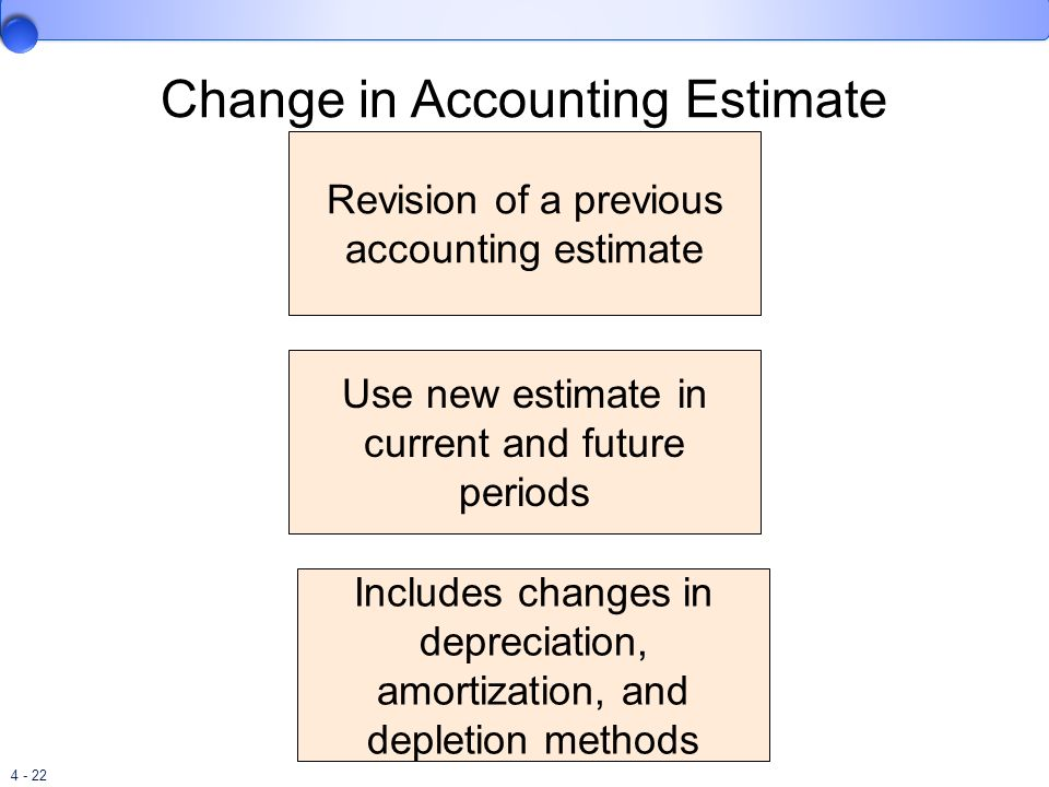 4 - 22 Change in Accounting Estimate Revision of a previous accounting estimate Use new estimate in current and future periods Includes changes in dep