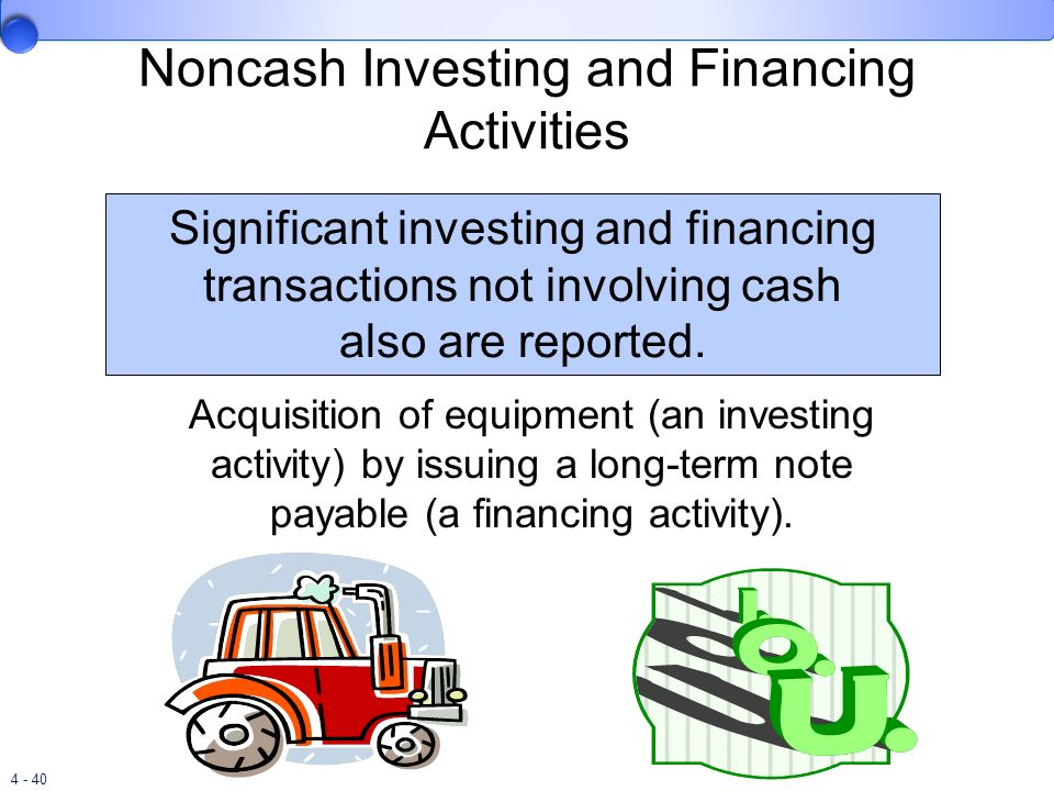 4 - 40 Noncash Investing and Financing Activities Significant investing and financing transactions not involving cash also are reported. Acquisition o