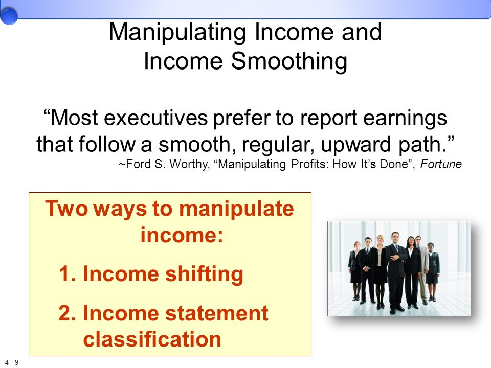 4 - 30 Accumulated Other Comprehensive Income In addition to reporting comprehensive income that occurs in the current period, we must also report these amounts on a cumulative basis in the balance sheet as an additional component of shareholders equity.