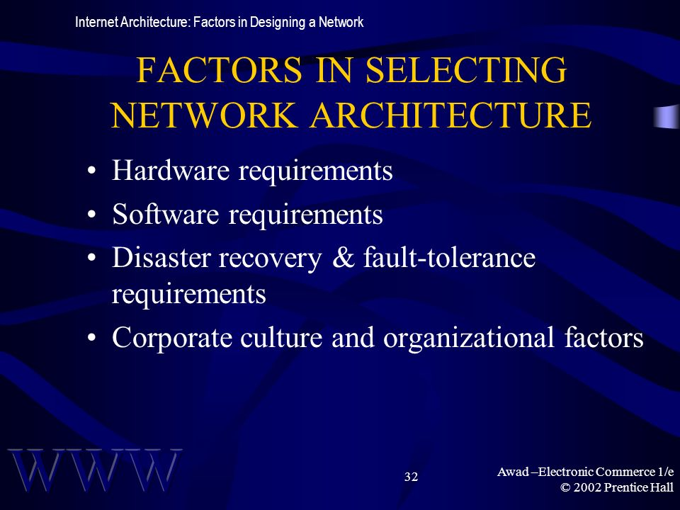 Awad –Electronic Commerce 1/e © 2002 Prentice Hall 32 FACTORS IN SELECTING NETWORK ARCHITECTURE Hardware requirements Software requirements Disaster recovery & fault-tolerance requirements Corporate culture and organizational factors Internet Architecture: Factors in Designing a Network