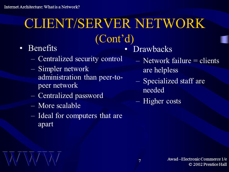 Awad –Electronic Commerce 1/e © 2002 Prentice Hall 7 CLIENT/SERVER NETWORK (Contd) Benefits –Centralized security control –Simpler network administration than peer-to- peer network –Centralized password –More scalable –Ideal for computers that are apart Drawbacks –Network failure = clients are helpless –Specialized staff are needed –Higher costs Internet Architecture: What is a Network