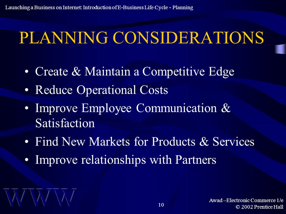 Awad –Electronic Commerce 1/e © 2002 Prentice Hall 10 PLANNING CONSIDERATIONS Create & Maintain a Competitive Edge Reduce Operational Costs Improve Employee Communication & Satisfaction Find New Markets for Products & Services Improve relationships with Partners Launching a Business on Internet: Introduction of E-Business Life Cycle - Planning