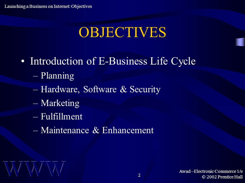 Awad –Electronic Commerce 1/e © 2002 Prentice Hall 2 OBJECTIVES Introduction of E-Business Life Cycle –Planning –Hardware, Software & Security –Marketing –Fulfillment –Maintenance & Enhancement Launching a Business on Internet: Objectives