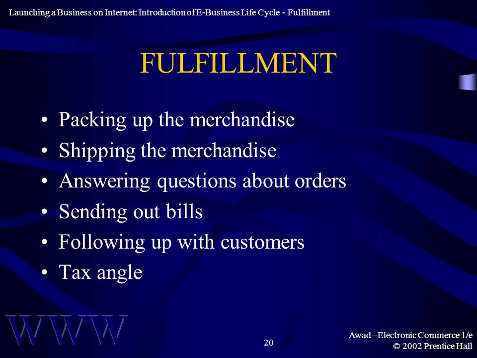 Awad –Electronic Commerce 1/e © 2002 Prentice Hall 20 FULFILLMENT Packing up the merchandise Shipping the merchandise Answering questions about orders Sending out bills Following up with customers Tax angle Launching a Business on Internet: Introduction of E-Business Life Cycle - Fulfillment