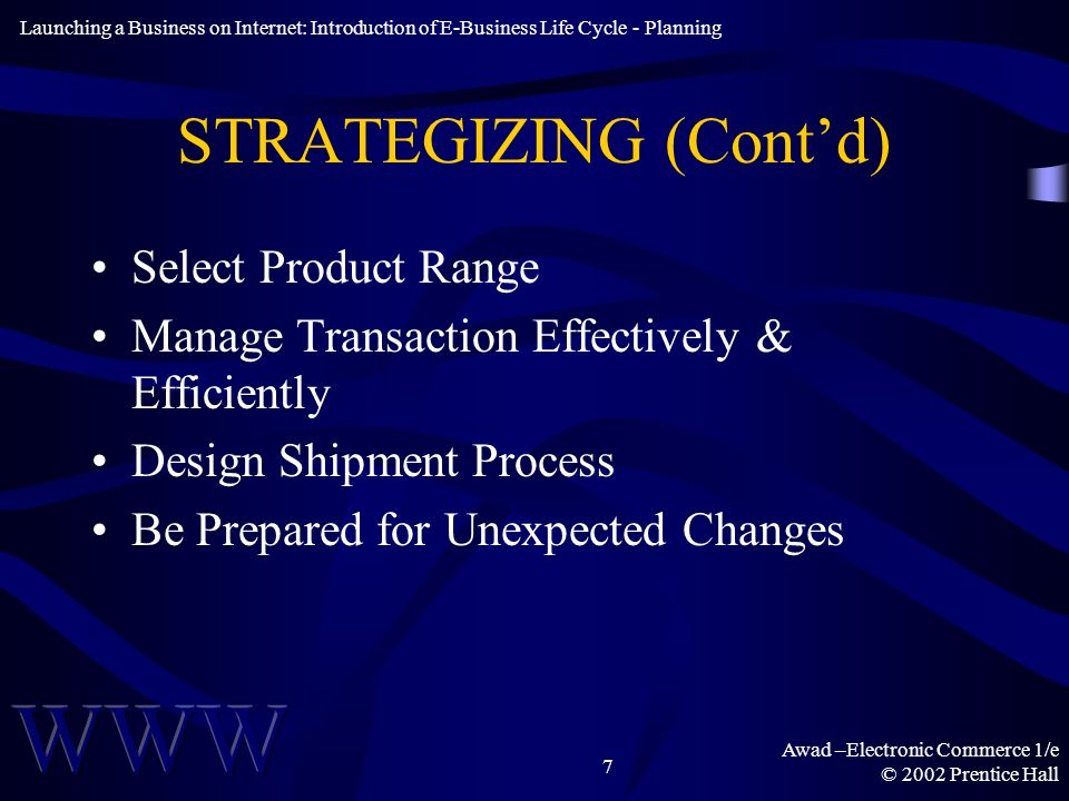 Awad –Electronic Commerce 1/e © 2002 Prentice Hall 7 STRATEGIZING (Contd) Select Product Range Manage Transaction Effectively & Efficiently Design Shi