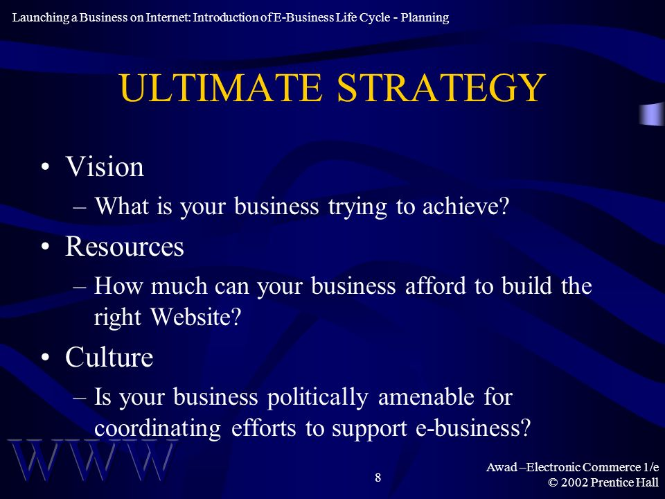 Awad –Electronic Commerce 1/e © 2002 Prentice Hall 8 ULTIMATE STRATEGY Vision –What is your business trying to achieve.