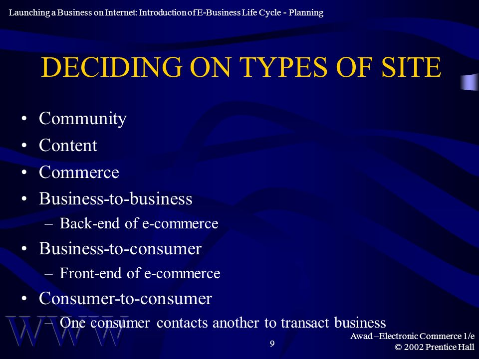 Awad –Electronic Commerce 1/e © 2002 Prentice Hall 9 DECIDING ON TYPES OF SITE Community Content Commerce Business-to-business –Back-end of e-commerce Business-to-consumer –Front-end of e-commerce Consumer-to-consumer –One consumer contacts another to transact business Launching a Business on Internet: Introduction of E-Business Life Cycle - Planning