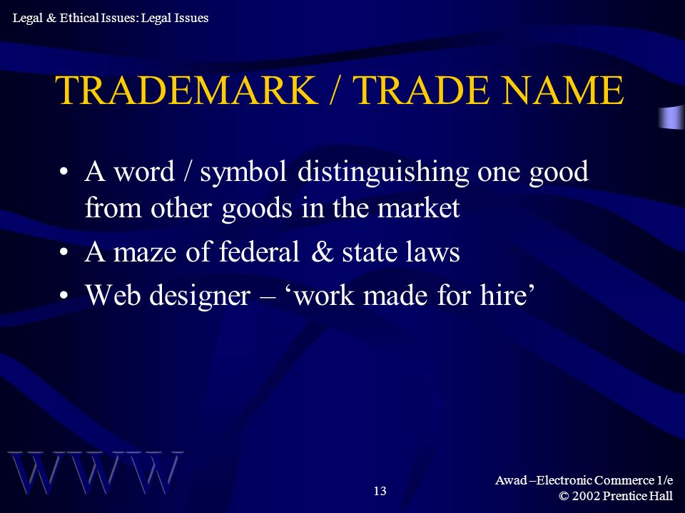 Awad –Electronic Commerce 1/e © 2002 Prentice Hall 13 TRADEMARK / TRADE NAME A word / symbol distinguishing one good from other goods in the market A