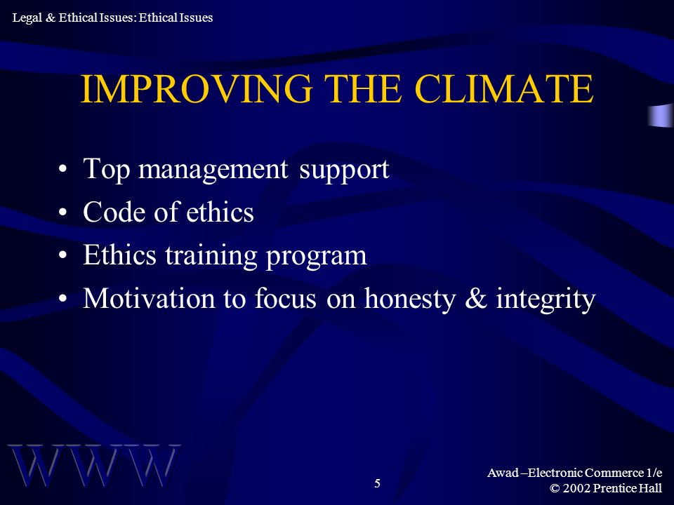 Awad –Electronic Commerce 1/e © 2002 Prentice Hall 5 IMPROVING THE CLIMATE Top management support Code of ethics Ethics training program Motivation to