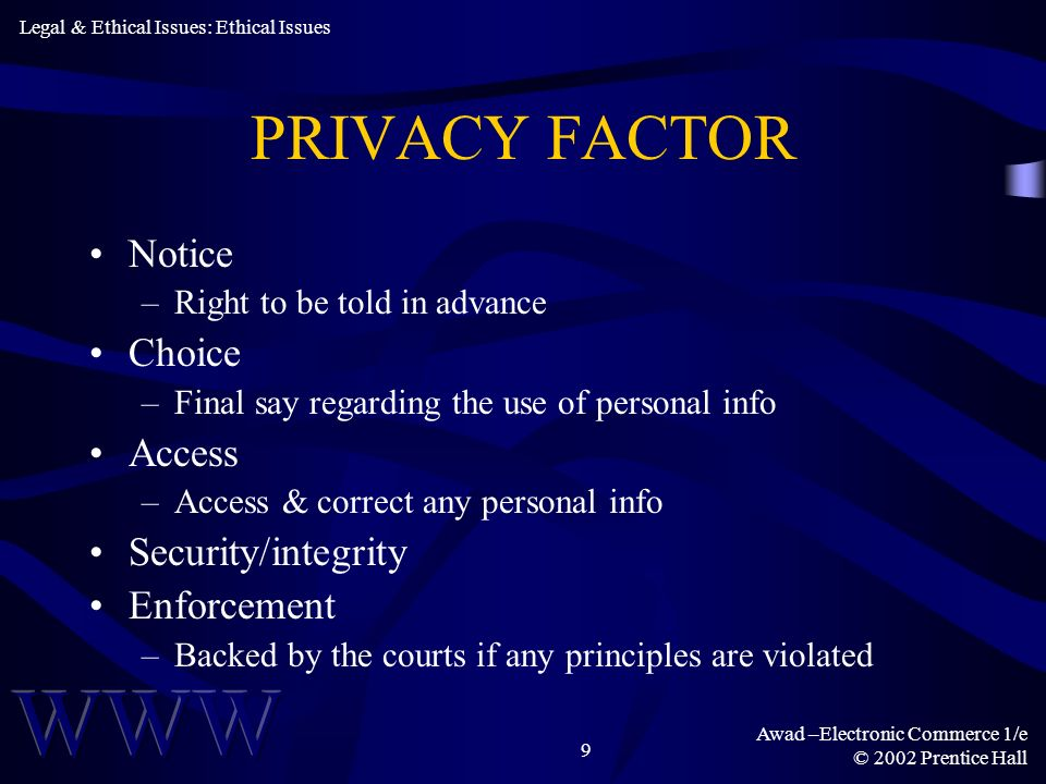 Awad –Electronic Commerce 1/e © 2002 Prentice Hall 10 THE LIABILITY QUESTION Liability of Designer –Nontrivial errors –Out-of-bound errors Liability of User –Passive negligence Basis of Liability –Tort law –Product liability Legal & Ethical Issues: Legal Issues