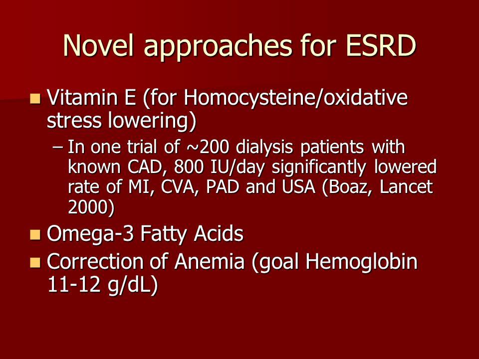 Novel approaches for ESRD Vitamin E (for Homocysteine/oxidative stress lowering) Vitamin E (for Homocysteine/oxidative stress lowering) –In one trial