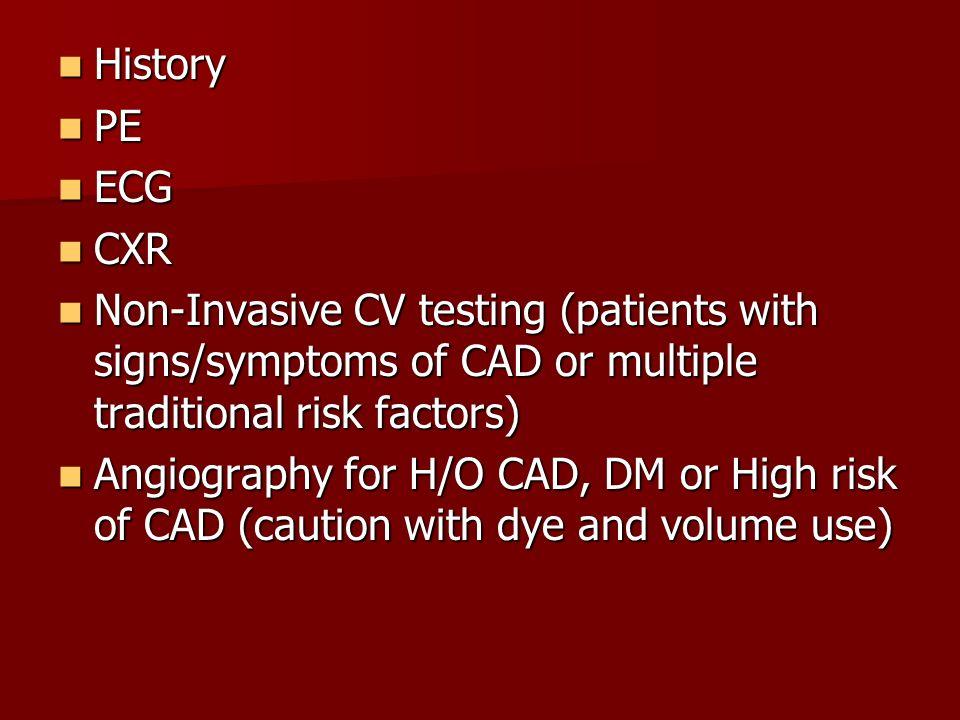 History History PE PE ECG ECG CXR CXR Non-Invasive CV testing (patients with signs/symptoms of CAD or multiple traditional risk factors) Non-Invasive