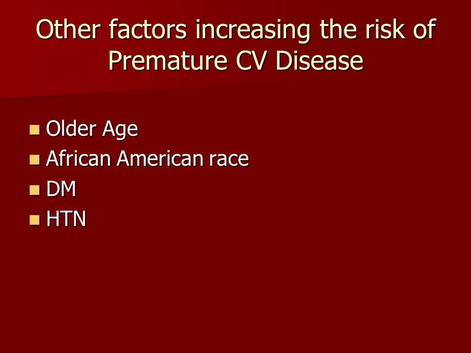 Other factors increasing the risk of Premature CV Disease Older Age Older Age African American race African American race DM DM HTN HTN