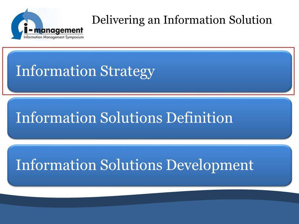 Information Strategy Delivering an Information Solution Information Solutions Definition Information Solutions Development
