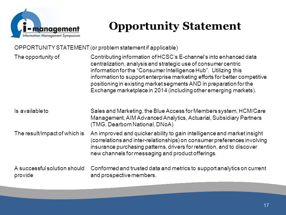 Opportunity Statement 17 OPPORTUNITY STATEMENT (or problem statement if applicable) The opportunity ofContributing information of HCSCs E-channels int