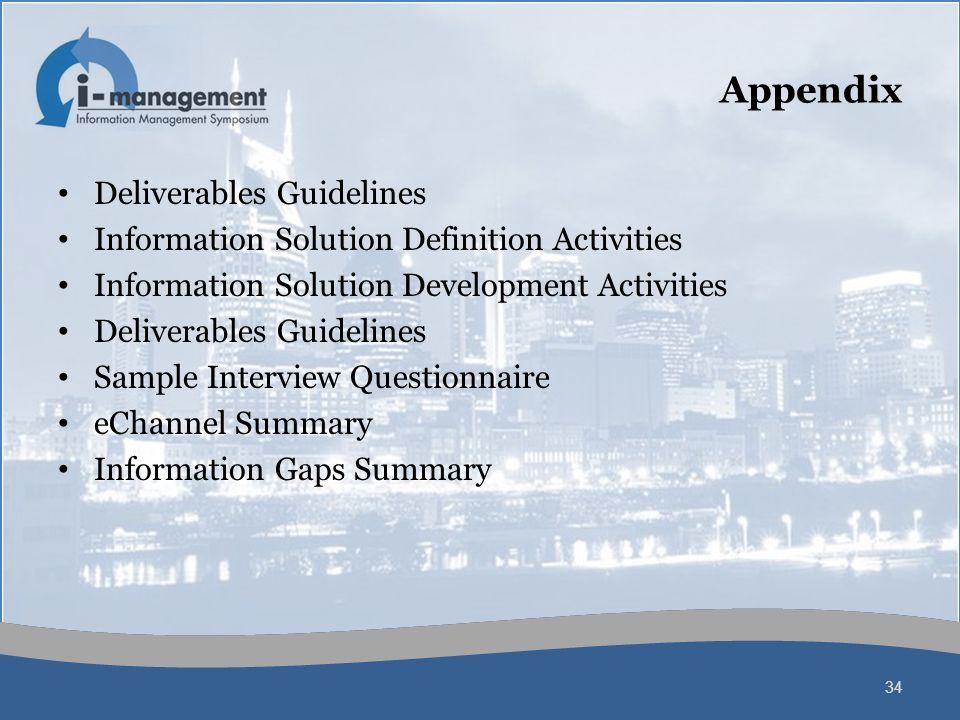 Appendix Deliverables Guidelines Information Solution Definition Activities Information Solution Development Activities Deliverables Guidelines Sample