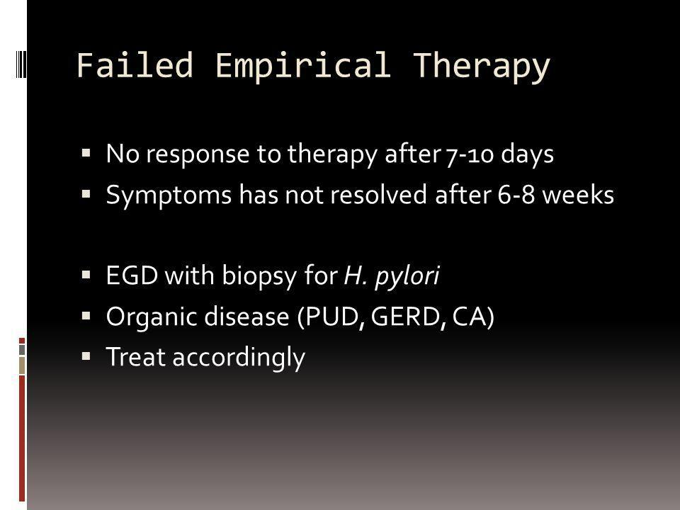 Failed Empirical Therapy No response to therapy after 7-10 days Symptoms has not resolved after 6-8 weeks EGD with biopsy for H. pylori Organic diseas