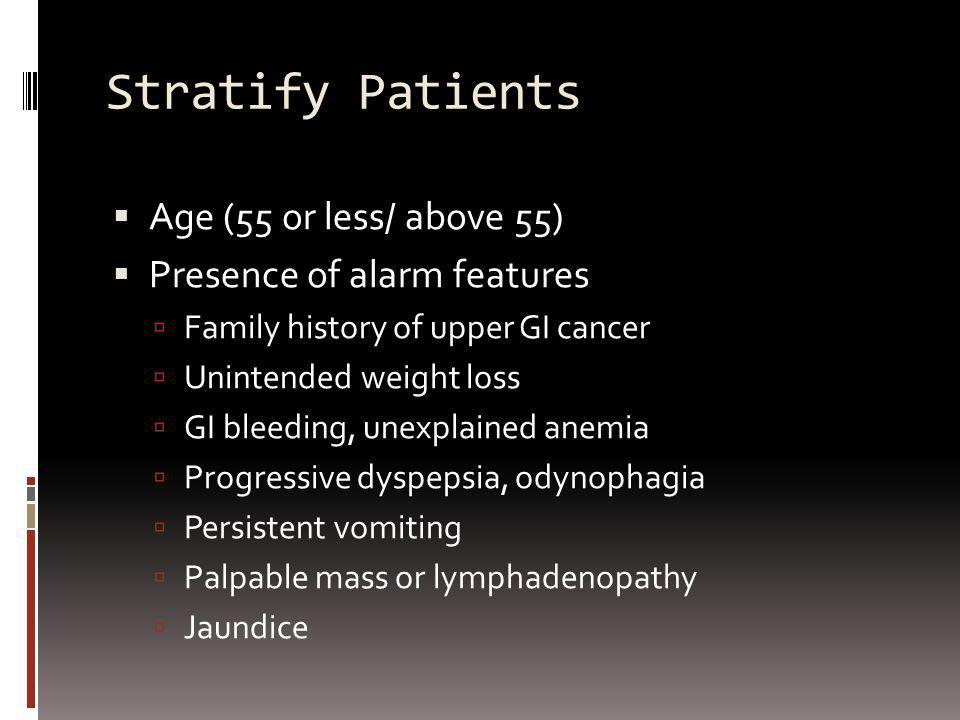 Stratify Patients Age (55 or less/ above 55) Presence of alarm features Family history of upper GI cancer Unintended weight loss GI bleeding, unexplai