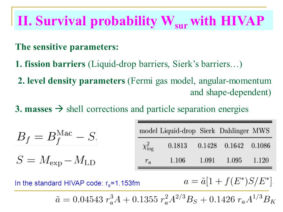 II. Survival probability W sur with HIVAP The sensitive parameters: 1.