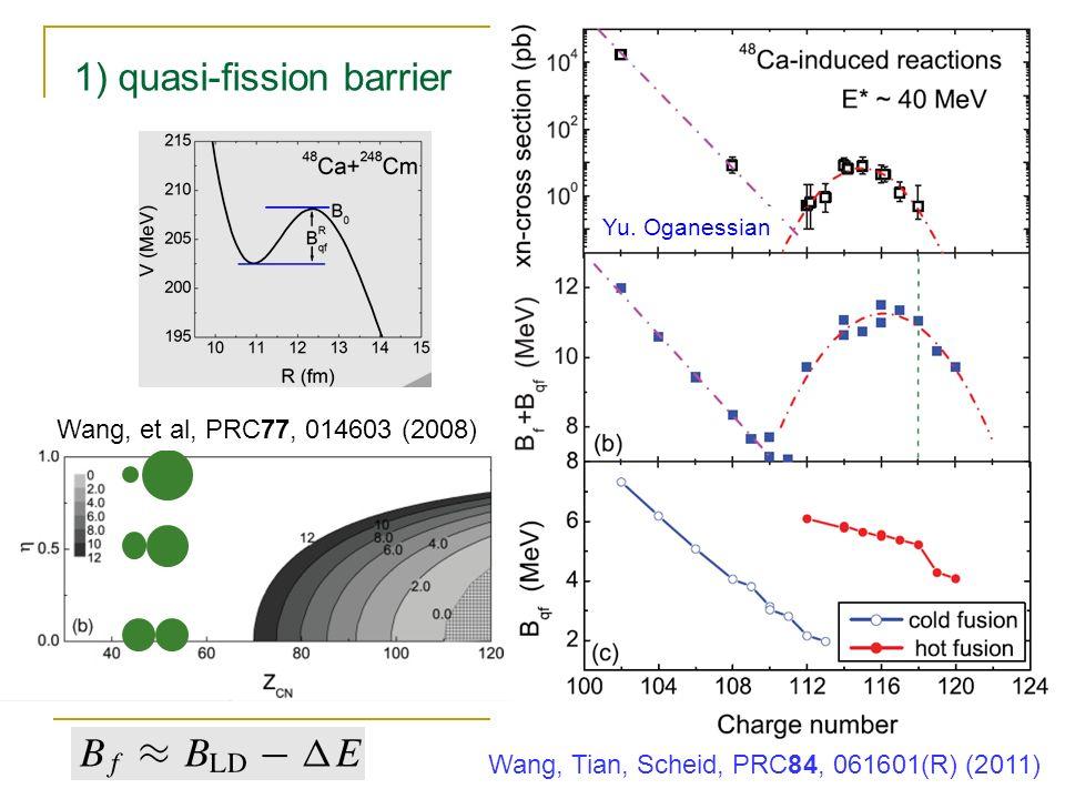 1) quasi-fission barrier Wang, Tian, Scheid, PRC84, 061601(R) (2011) Yu.