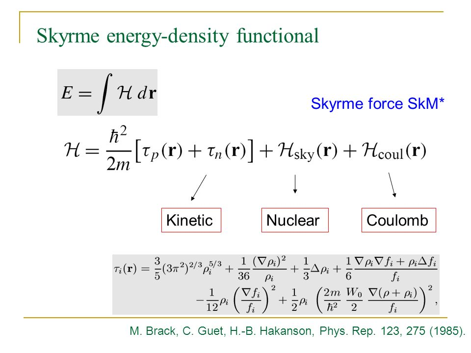 KineticNuclearCoulomb Skyrme energy-density functional M.