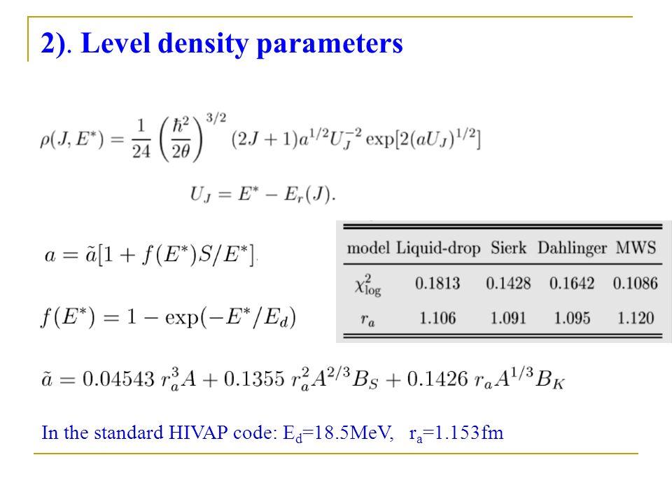 2). Level density parameters In the standard HIVAP code: E d =18.5MeV, r a =1.153fm