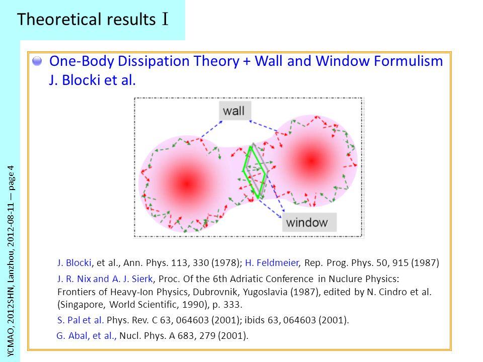 Theoretical results I YCMAO, 2012SHN, Lanzhou, 2012-08-11 page 4 J. Blocki, et al., Ann. Phys. 113, 330 (1978); H. Feldmeier, Rep. Prog. Phys. 50, 915