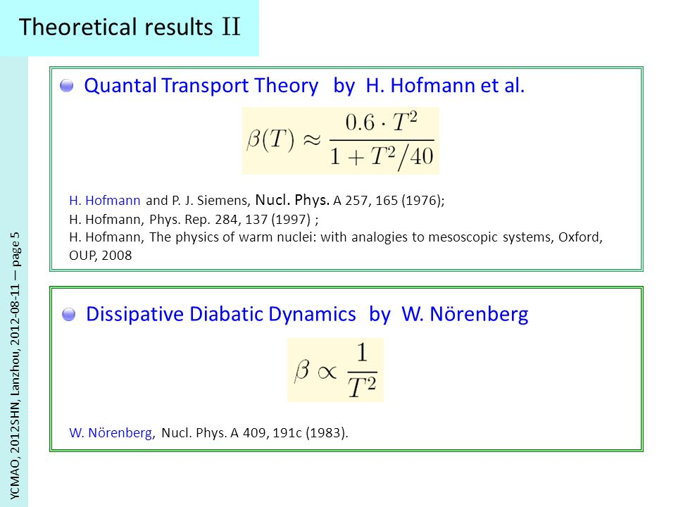 Theoretical Models YCMAO, 2012SHN, Lanzhou, 2012-08-11 page 6 The C ombined D ynamical S tatistical M odel (CDSM model) In overdamped condition Langevin equation reads In overdamped condition Langevin equation reads P.