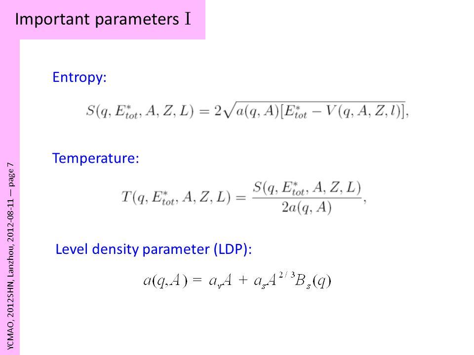 Important parameters I YCMAO, 2012SHN, Lanzhou, 2012-08-11 page 7 Entropy: Temperature: Level density parameter (LDP):
