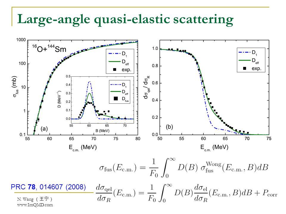 N. Wang www.ImQMD.com Large-angle quasi-elastic scattering PRC 78, 014607 (2008)