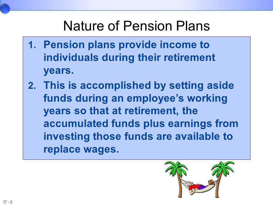17 - 2 Nature of Pension Plans 1. Pension plans provide income to individuals during their retirement years. 2. This is accomplished by setting aside