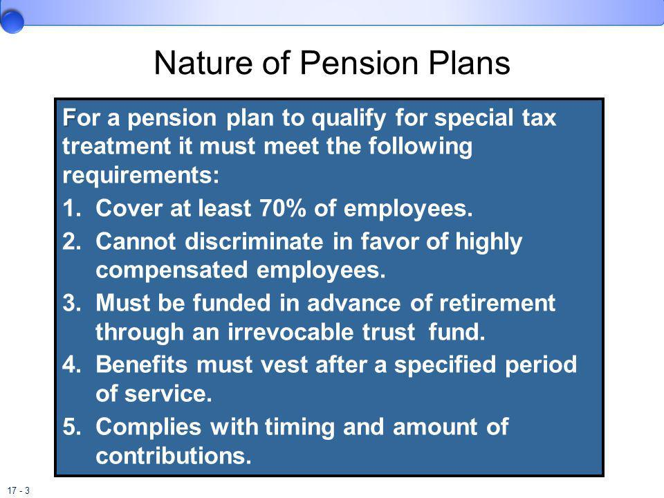17 - 3 Nature of Pension Plans F For a pension plan to qualify for special tax treatment it must meet the following requirements: 1.Cover at least 70%