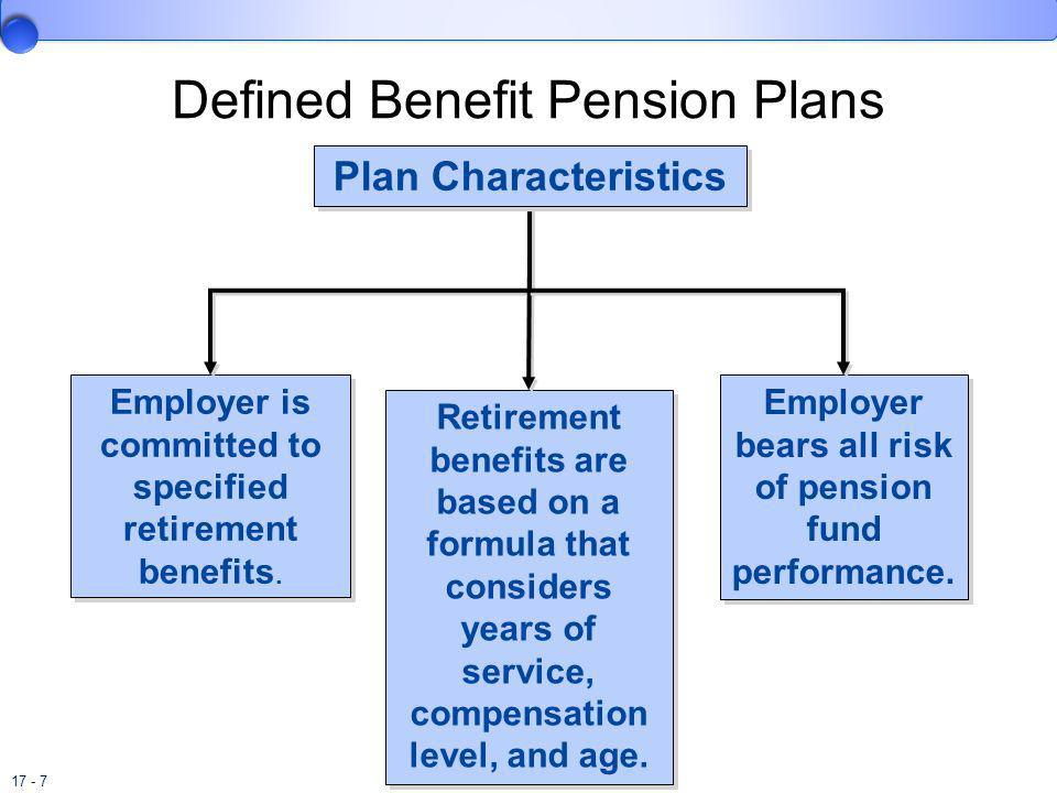 17 - 7 Employer is committed to specified retirement benefits. Retirement benefits are based on a formula that considers years of service, compensatio