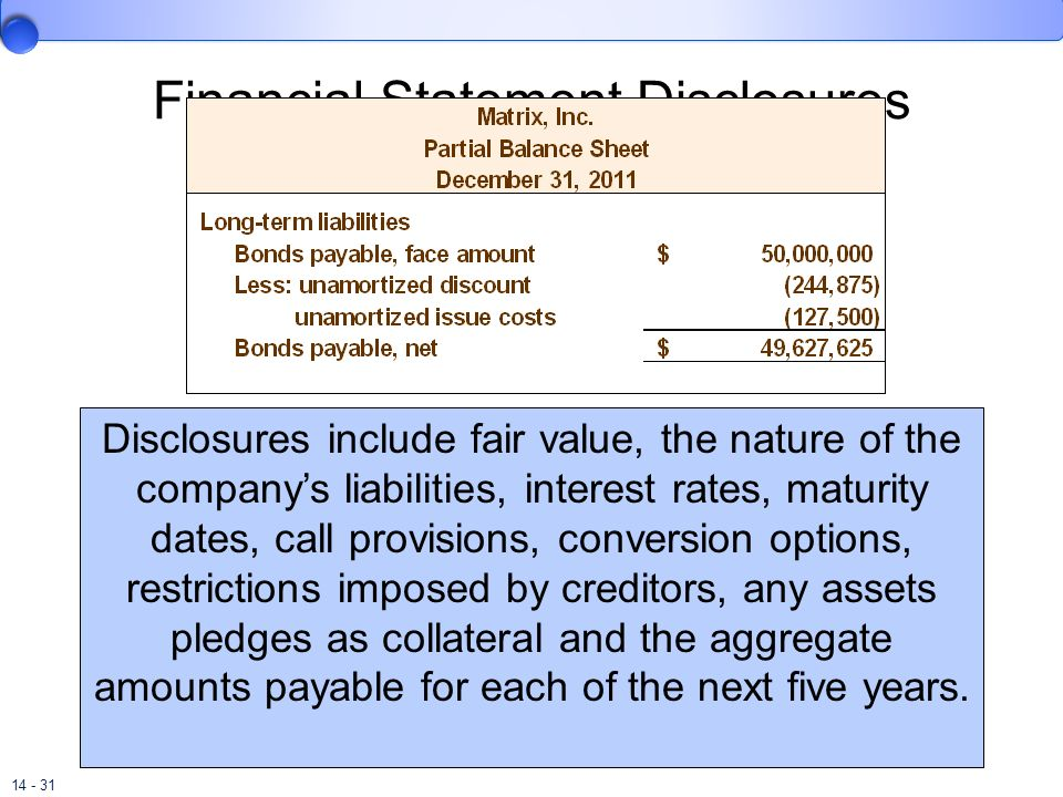 14 - 31 Financial Statement Disclosures Disclosures include fair value, the nature of the companys liabilities, interest rates, maturity dates, call p