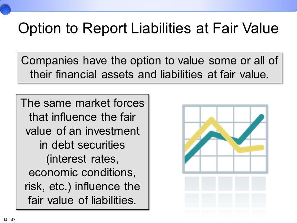 14 - 43 Option to Report Liabilities at Fair Value Companies have the option to value some or all of their financial assets and liabilities at fair va