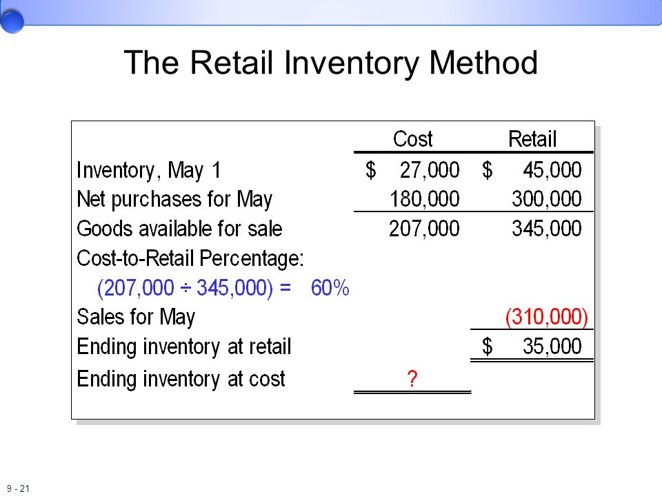 9 - 21 The Retail Inventory Method
