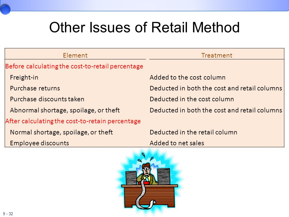 9 - 32 Other Issues of Retail Method Element Treatment Before calculating the cost-to-retail percentage Freight-in Added to the cost column Purchase r