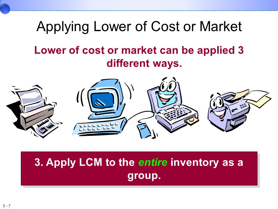 9 - 8 Adjusting Cost to Market 1.Record the Loss as a Separate Item in the Income Statement Loss on write-down of inventory XX Inventory XX 2.Record the Loss as part of Cost of Goods Sold.