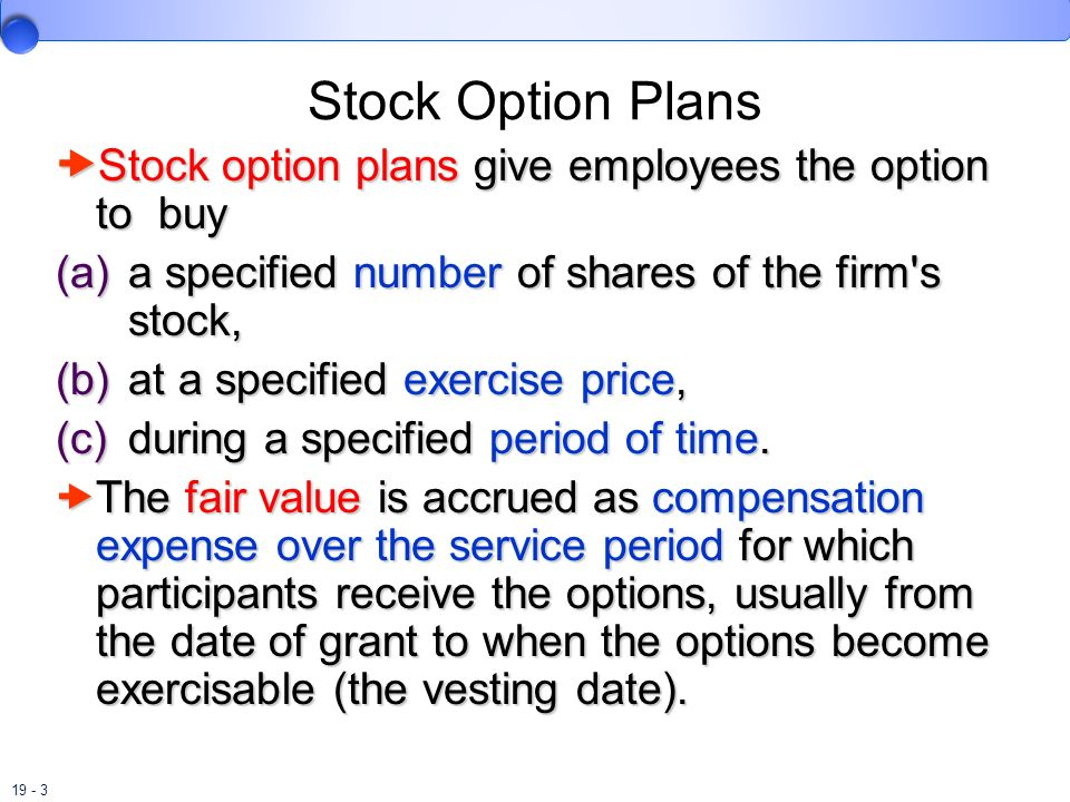 19 - 3 Stock Option Plans Stock option plans give employees the option to buy Stock option plans give employees the option to buy (a) a specified numb