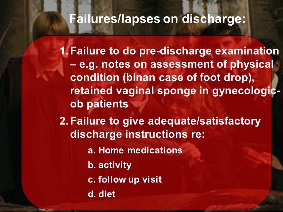 1.Failure to do pre-discharge examination – e.g.
