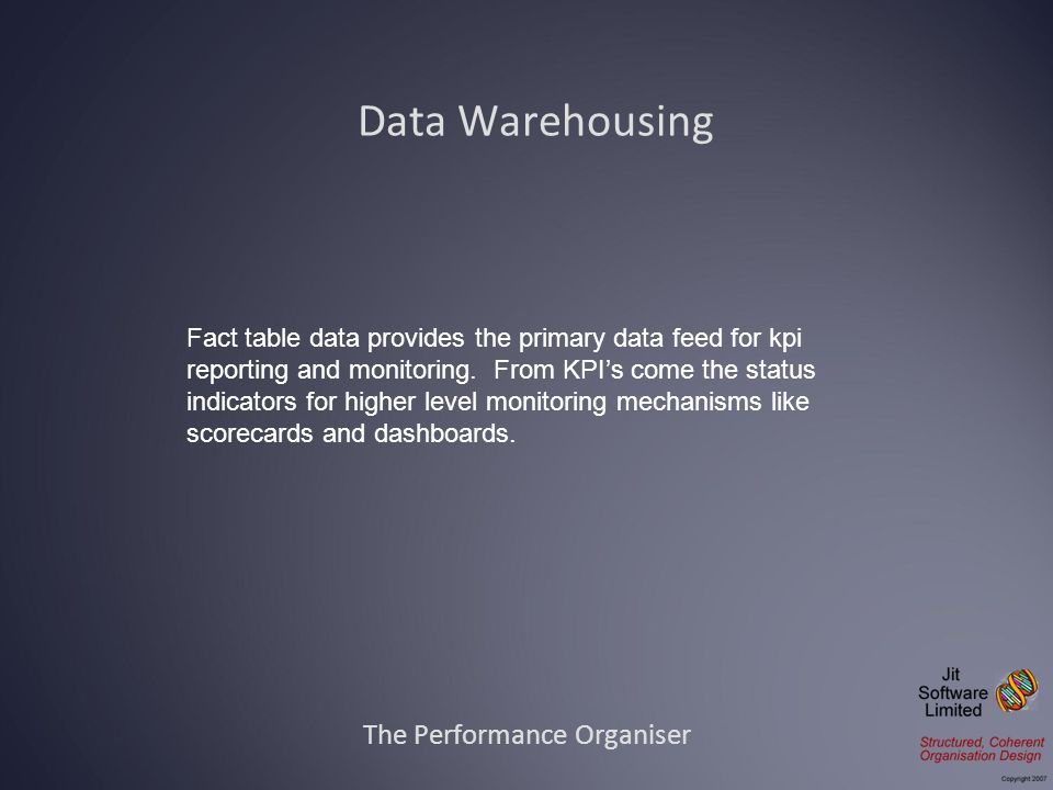 Data Warehousing The Performance Organiser Fact table data provides the primary data feed for kpi reporting and monitoring.