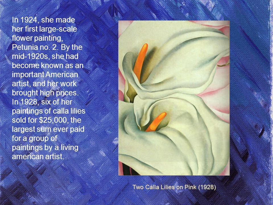 In 1924, she made her first large-scale flower painting, Petunia no.