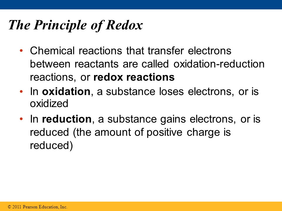 The Principle of Redox Chemical reactions that transfer electrons between reactants are called oxidation-reduction reactions, or redox reactions In ox