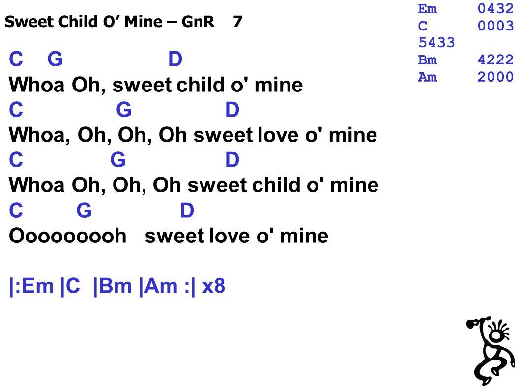 C G D Whoa Oh, sweet child o mine C G D Whoa, Oh, Oh, Oh sweet love o mine C G D Whoa Oh, Oh, Oh sweet child o mine C G D Ooooooooh sweet love o mine |:Em |C |Bm |Am :| x8 Sweet Child O Mine – GnR 7 Em0432 C0003 5433 Bm4222 Am2000