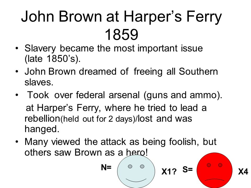 John Brown at Harpers Ferry 1859 Slavery became the most important issue (late 1850s). John Brown dreamed of freeing all Southern slaves. Took over fe