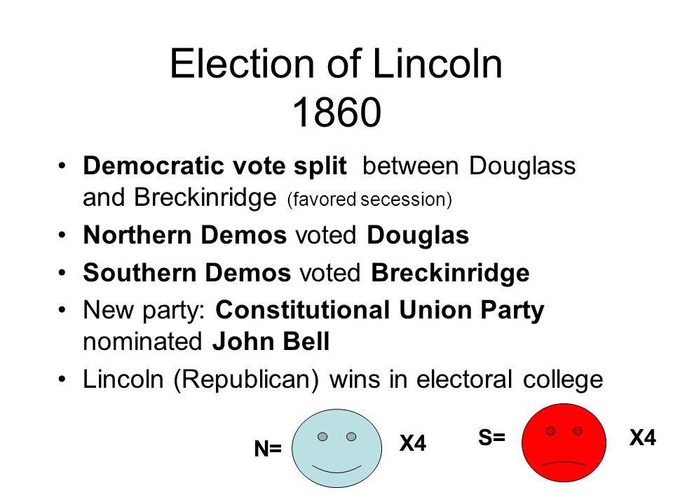 Election of Lincoln 1860 Democratic vote split between Douglass and Breckinridge (favored secession) Northern Demos voted Douglas Southern Demos voted