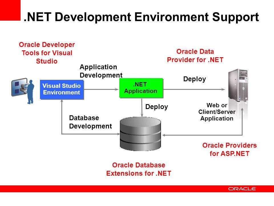 .NET Development Environment Support Visual Studio Environment Visual Studio Environment Application Development Deploy Database Development Oracle Da