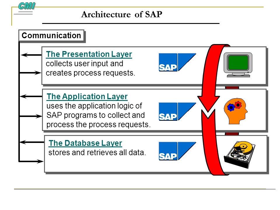 Architecture of SAP The Presentation Layer collects user input and creates process requests. The Presentation Layer collects user input and creates pr